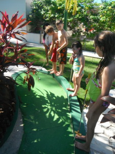 Exploramum and Explorason - Sea Adventure Resort & Waterpark Cancun Mexico - mini golf